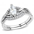 DA133 High polished Stainless Steel Marquise Cut CZ Ring Davano Collection