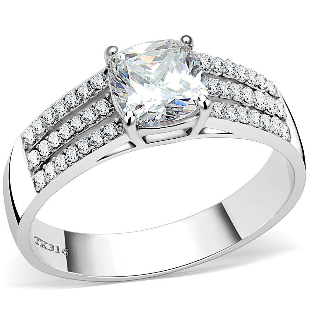 DA020 - High polished Stainless Steel CZ Square Cut Ring Davano Collection