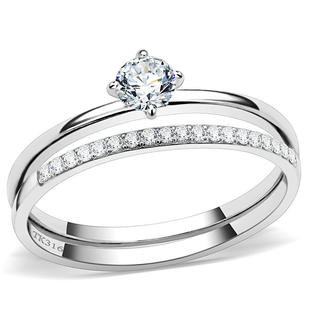 DA026 High polished Stainless Steel Round Cut Ring Davano Collection