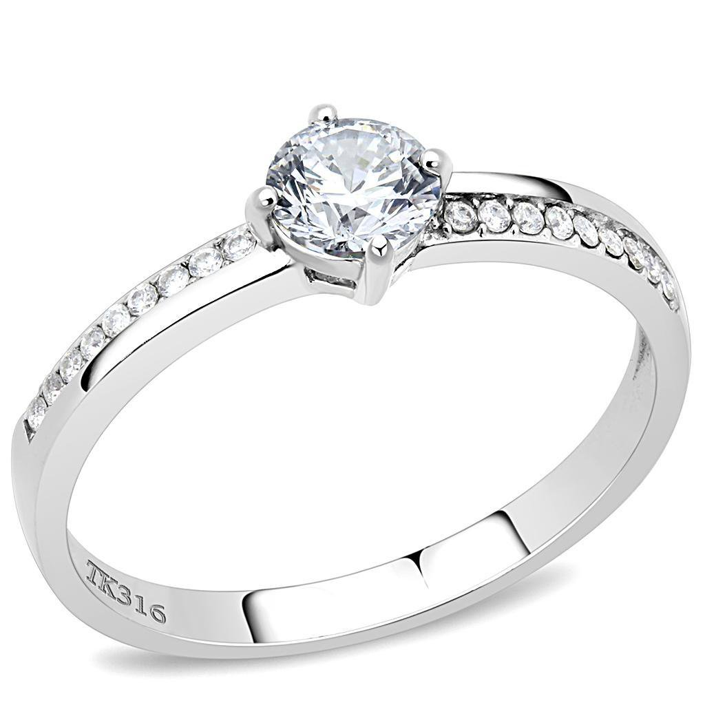 DA025 High polished Stainless Steel Round Cut CZ Ring AAA Grade Davano Collection
