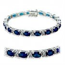 415501 - Rhodium Brass Bracelet with Synthetic Spinel in Sapphire