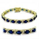 415504 - Gold Brass Bracelet Synthetic Spinel Sapphire