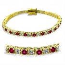415901 - Gold Brass Bracelet Synthetic Garnet in Ruby