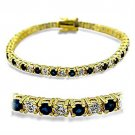 415903 - Gold Brass Bracelet with Synthetic Spinel in Sapphire
