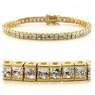 47101 - Gold Brass Bracelet with AAA Grade CZ Tennis Bracelet