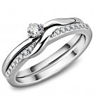 TK3508  High polished Stainless Steel Ring AAA Grade CZ Round Cut Heart Ring