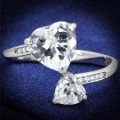 TS556 Rhodium 925 Sterling Silver AAA Grade CZ Heart Ring