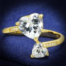 TS555 Gold 925 Sterling Silver Ring CZ Heart Ring