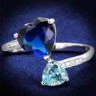TS554 Rhodium 925 Sterling Silver Ring Synthetic Glass Montana Heart Ring