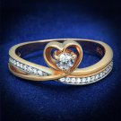 TS544 - Rose Gold + Rhodium 925 Sterling Silver Ring with AAA Grade CZ in Clear