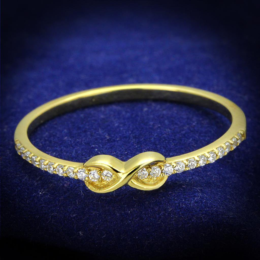 TS405 Gold 925 Sterling Silver AAA Grade CZ Heart Ring
