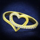 TS308 - Gold 925 Sterling Silver Ring with AAA Grade CZ in Clear