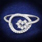 TS307 Rhodium 925 Sterling Silver AAA Grade CZ Heart Ring
