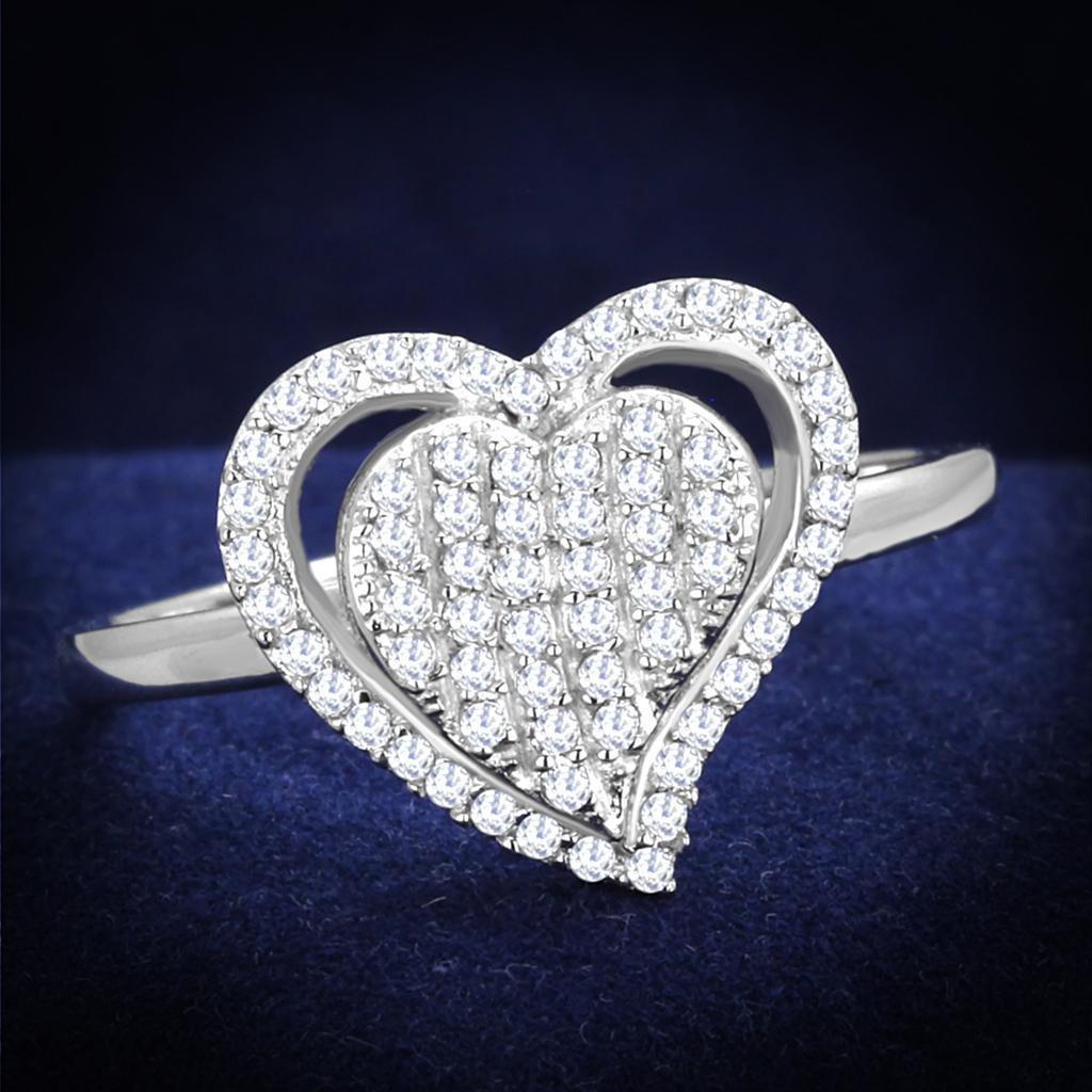 TS192 Rhodium 925 Sterling Silver AAA Grade CZ Heart Ring