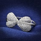TS050 Rhodium 925 Sterling Silver CZ Valentine Heart Ring