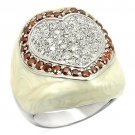 LOS211 Rhodium 925 Sterling Silver AAA Grade CZ Garnet Valentine Ring