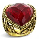 LO4102 Gold Brass Ring Synthetic Glass Garnet Valentine Heart Ring