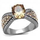 TK2249 High polished Stainless Steel AAA Grade CZ Champagne Oval Ring