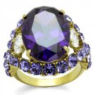 TK2160 Gold Stainless Steel AAA Grade CZ Amethyst Oval Ring