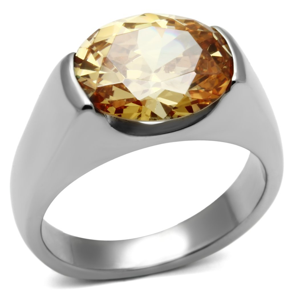 TK622 High polished Stainless Steel AAA Grade CZ Champagne Oval Cut Ring