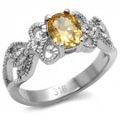 TK080 High polished Stainless Steel AAA Grade CZ Champagne Oval Cut Ring