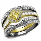TK2291 Two-Tone IP Gold Stainless Steel AAA Grade CZ Topaz Ring