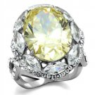 TK2162 High polished Stainless Steel AAA Grade CZ Citrine Yellow Oval Ring