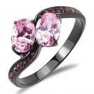 TK3444 IP Black Stainless Steel AAA Grade CZ Rose Oval Ring