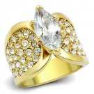 TK1672 Gold Stainless Steel AAA Grade CZ Marquise Ring