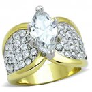 TK1548 Two-Tone IP Gold Stainless Steel Ring AAA Grade CZ Marquise Ring