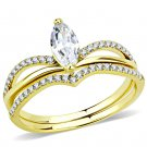 DA276 IP Gold Stainless Steel AAA Grade CZ Marquise Ring