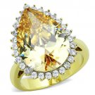 TK1564 Two-Tone IP Gold Stainless Steel AAA Grade CZ Pear cut Ring