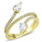 DA171 IP Gold Stainless Steel AAA Grade CZ Pear cut Ring
