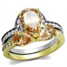 TK2132 Two-Tone IP Gold Stainless Steel AAA Grade CZ Champagne Pear Ring