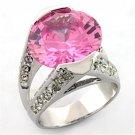 LOA686 Rhodium Ring AAA Grade CZ Rose Ring