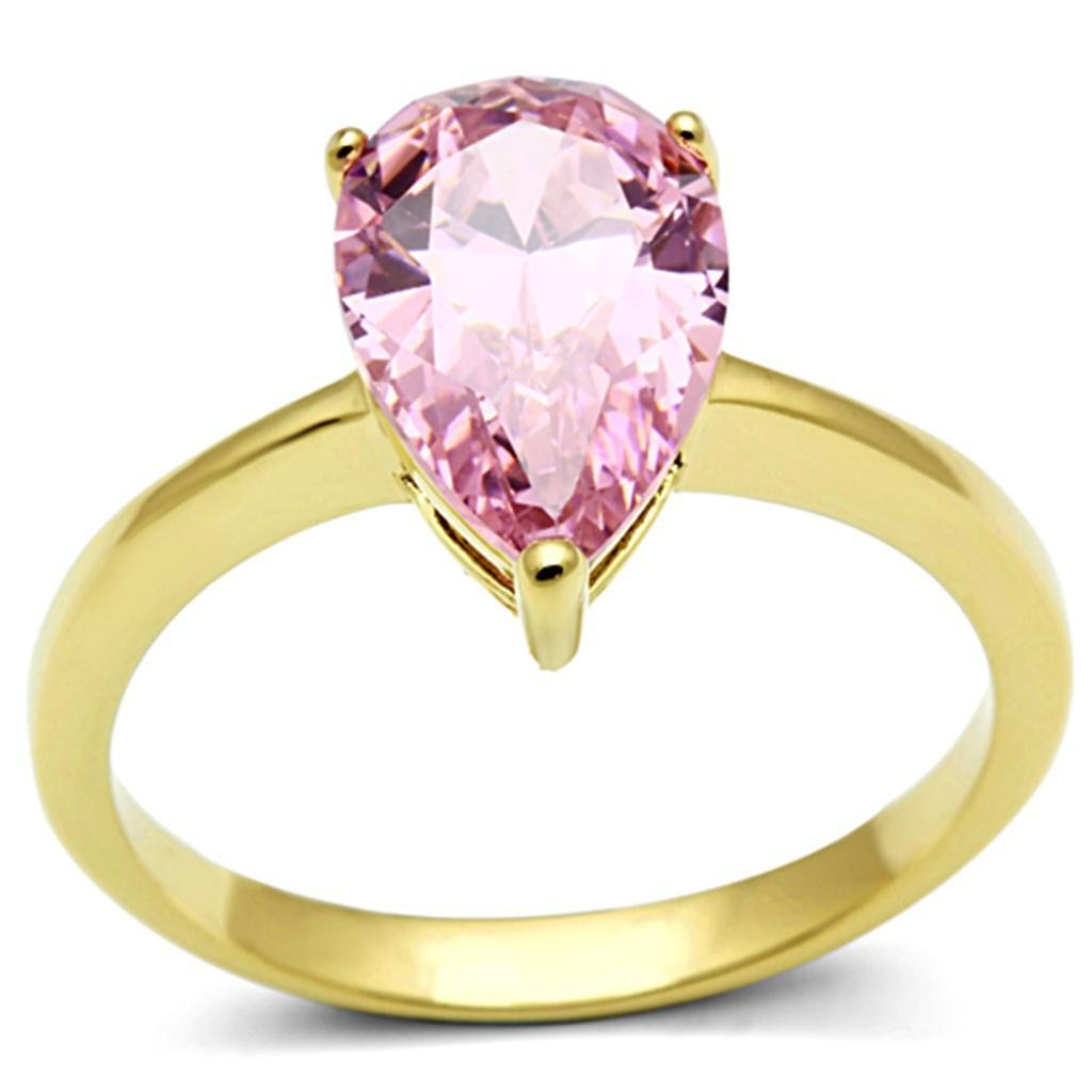 TK1508 IP Gold Stainless Steel AAA Grade CZ  Rose Ring