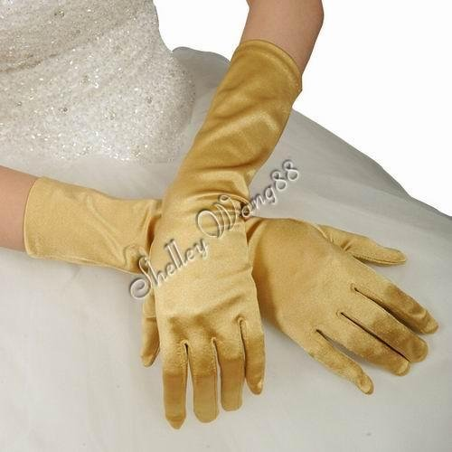 """16"""" Golden Bridal Satin Gloves for Wedding Opera Prom Dress Suit Party Evening A0626-4"""