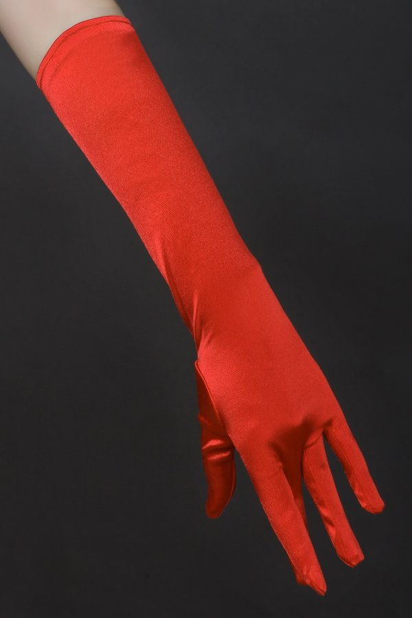 """16"""" Red Bridal Satin Gloves for Wedding Opera Prom Dress Suit Party Evening A0626-7"""