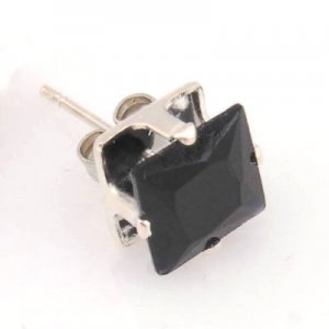 One Pair of New Mens Earring Ear Stud Stainless Steel Square Black Onyx 8mm Fake Plug YL065-06
