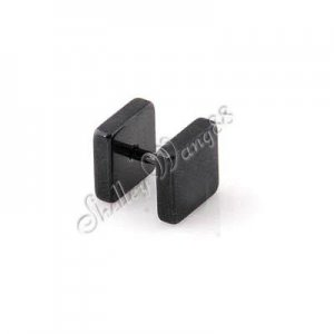 One Pair of New Mens Earring Ear Square Stud Stainless Steel Black Plug(8mm*6mm) YL128-06