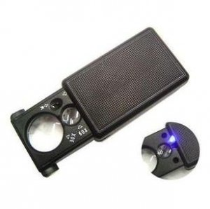 30x21mm/60x12mm Jewelers Eye Loupe Magnifier Magnifying glass LED Light Currency Detection A0045