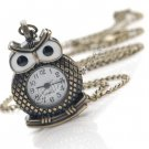 Vintage Owl Clock Pendant Necklace Chain New -Bronze A0367