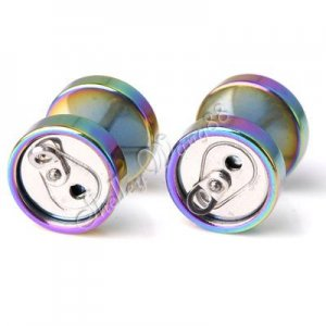 2x Stainless Steel Ear Studs Earring Plug Pop Can Shaped Colorful & Silver YL751