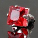 2x New Mens Earring Ear Stud Stainless Steel Square RED Onyx 7mm YL068-07