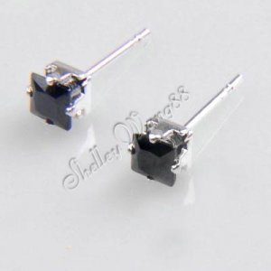 2x New Mens Earring Ear Stud Stainless Steel Black Onyx Fake Plug 4mm Square YL026-04