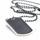 Black Stainless Steel Military Dog Tag Blank Pendant Necklace Chain Engraved A0657