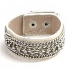 Unisex White Leather Belt Wristband Cuff Bracelet Single Row CZ Crystals Chains A0743