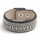 Brown Unisex Leather Belt Wristband Cuff Bracelet Single Row CZ Crystals Chains A0748