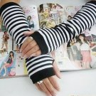 Black & White Korea style womens fingerless Long Gloves Arm Warmers A0041