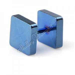 Pair of Men Square Earring Ear Stud Stainless Steel Blue 8mm YL662-08